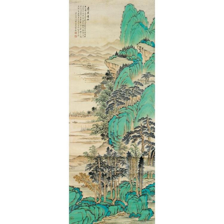 GRANDE PEINTURE VERTICALE EN ROULEAU D''APRÈS WU HUFAN à l''encre et polychromie sur papier, représentant un paysage de mer et de mont...