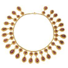 A garnet and gold necklace, circa 1820-1840.