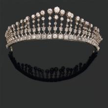 A diamond, gold and silver necklace, circa 1890.