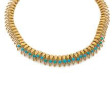A turquoise and gold necklace, circa 1950.