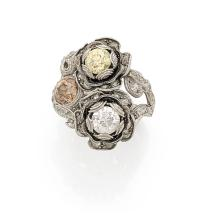 A colored diamond and platinum ring, circa 1925.