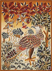 René PERROT (1912-1979) & Atelier Rivières des Borderies Tapisserie d'Aubusson, tissage main basse lisse en laines polychromes, repr...