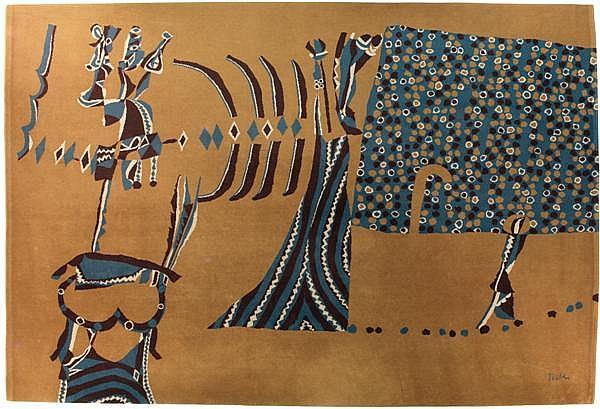 Heinz TRÖKES (1913-1997) & GILDEMUSTER (Éditeur) Tapis rectangulaire en laine à points noués, 1963, à décor abstrait de personnages ...