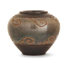 ÉMILE LENOBLE (1876-1940)RA spherical stoneware vase, green and brown enamels on brown background. Incised signature. RH 6 7/8 in.