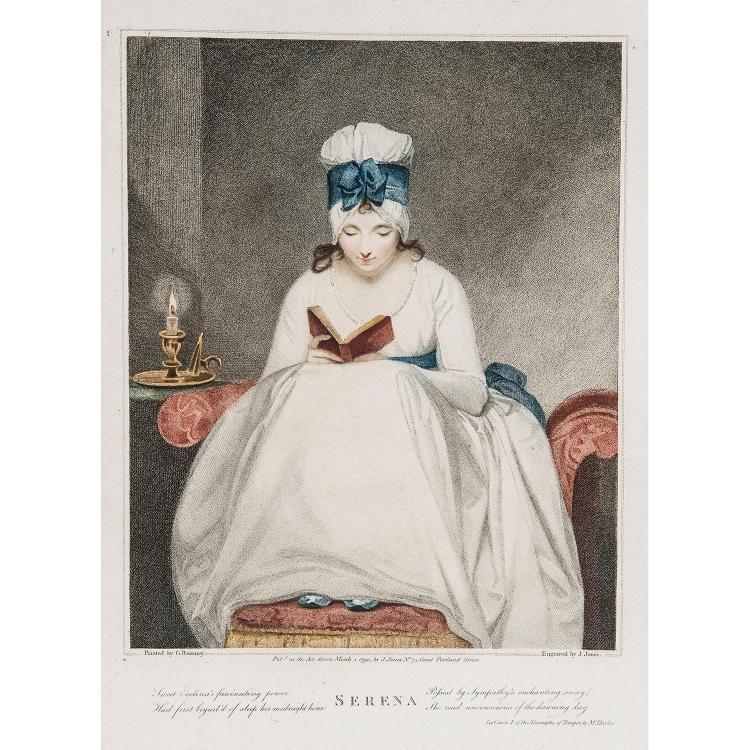 FRANCESCO BARTOLOZZI (1727-1815) VÉNUS À LA TOILETTE - VÉNUS ET AMOUR, deux pendants de forme ovale gravés d'après A. Kauffmann. SER...