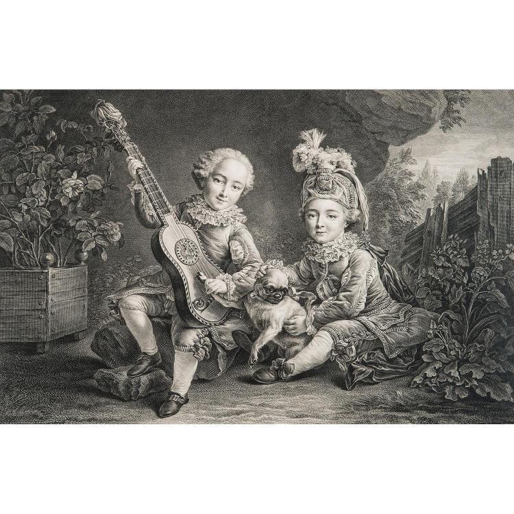 FRANÇOIS DROUAIS, D'APRÈS (1727-1775) ENFANTS DU DUC DE BOUILLON - ENFANTS DU MARQUIS DE BETHUNE
