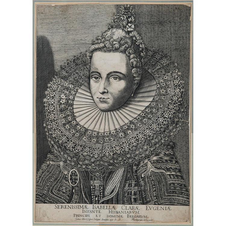 JOHANNES EILLARTS ISABELLA CLARA EUGENIAE INFANTE D'ESPAGNE, gravé d'après P. Feddes Van Harlingen.