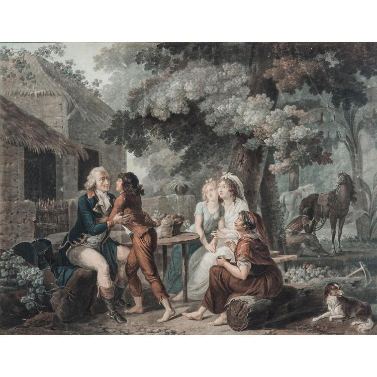 CHARLES MELCHIOR DESCOURTIS (1753-1820) PAUL ET VIRGINIE, suite des six planches d'après Schall.