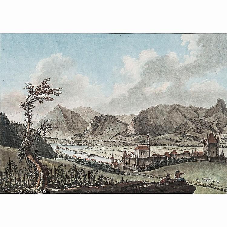 JEAN-FRANÇOIS JANINET (1752-1814) CHARLES MELCHIOR DESCOURTIS (1753-1820) VILLE DE THUNE DU CÔTÉ DE L'OCCIDENT – MONUMENT ÉRIGÉ À LA...