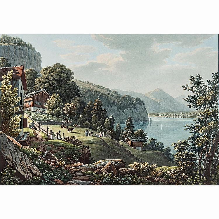 M.G. LORY, D'APRÈS (1784-1846) VUE DU GRÜTLI SUR LE LAC DES QUATRE CANTONS - VUE DE L'HOSPICE DU ST BERNARD