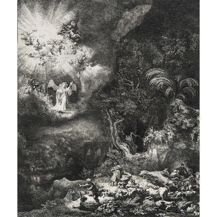 REMBRANDT VAN RIJN (1606-1669) L'ANGE APPARAISSANT AUX BERGERS