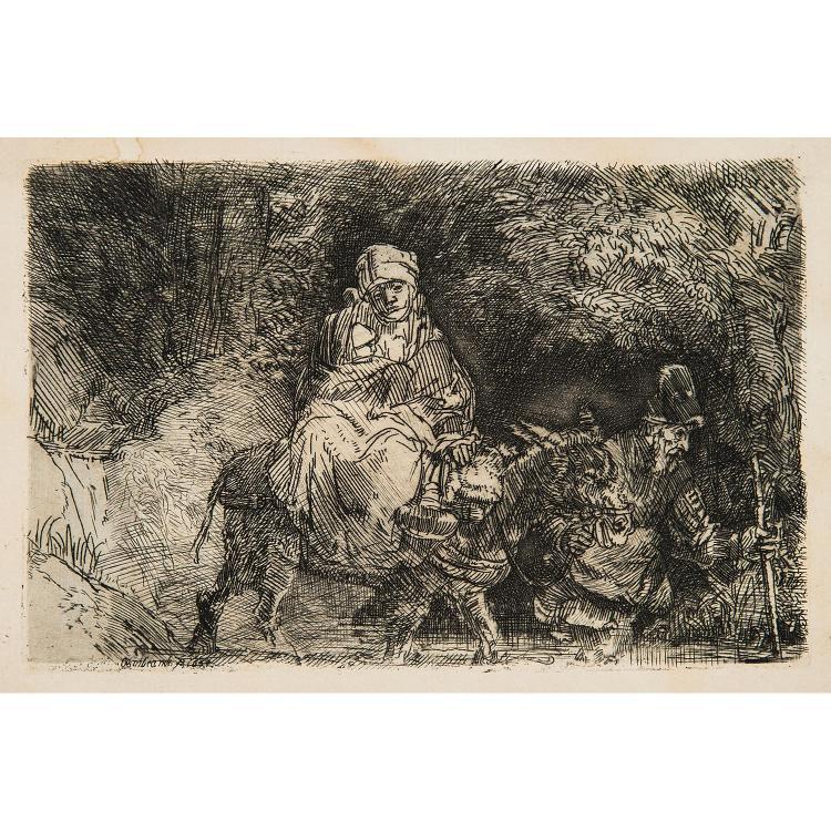 REMBRANDT VAN RIJN (1606-1669) FUITE EN ÉGYPTE PASSAGE DU GUÉ