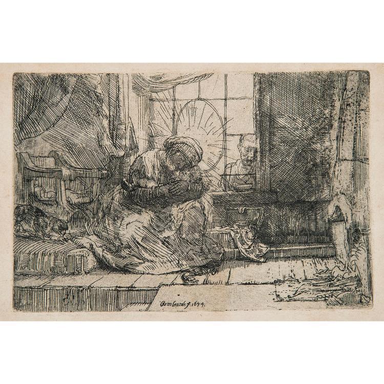 REMBRANDT VAN RIJN (1606-1669) LA SAINTE FAMILLE AU CHAT