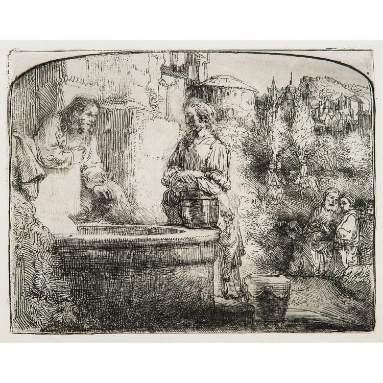 REMBRANDT VAN RIJN (1606-1669) LE CHRIST ET LA SAMARITAINE