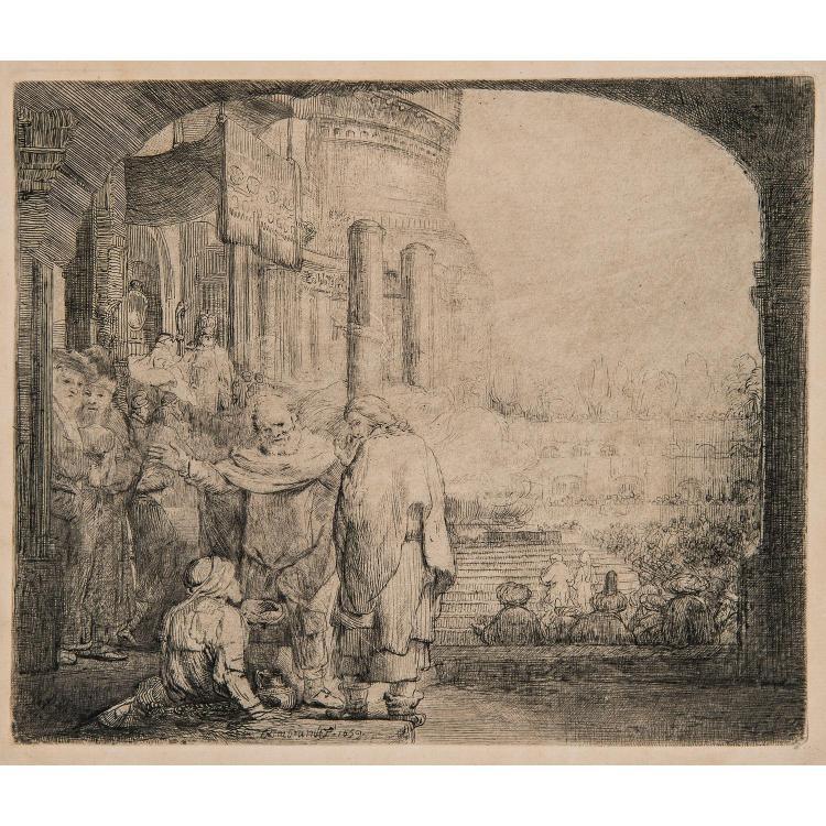 REMBRANDT VAN RIJN (1606 – 1669) SAINT PIERRE ET SAINT JEAN À LA PORTE D'UN TEMPLE