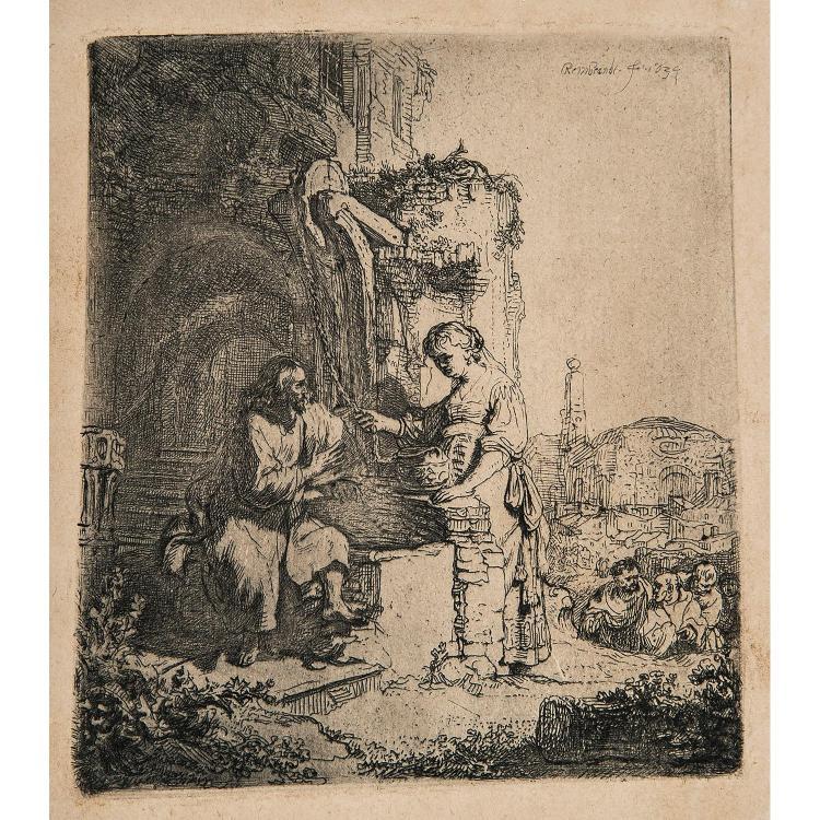 REMBRANDT VAN RIJN (1606-1669) LE CHRIST ET LA SAMARITAINE AUX RUINES