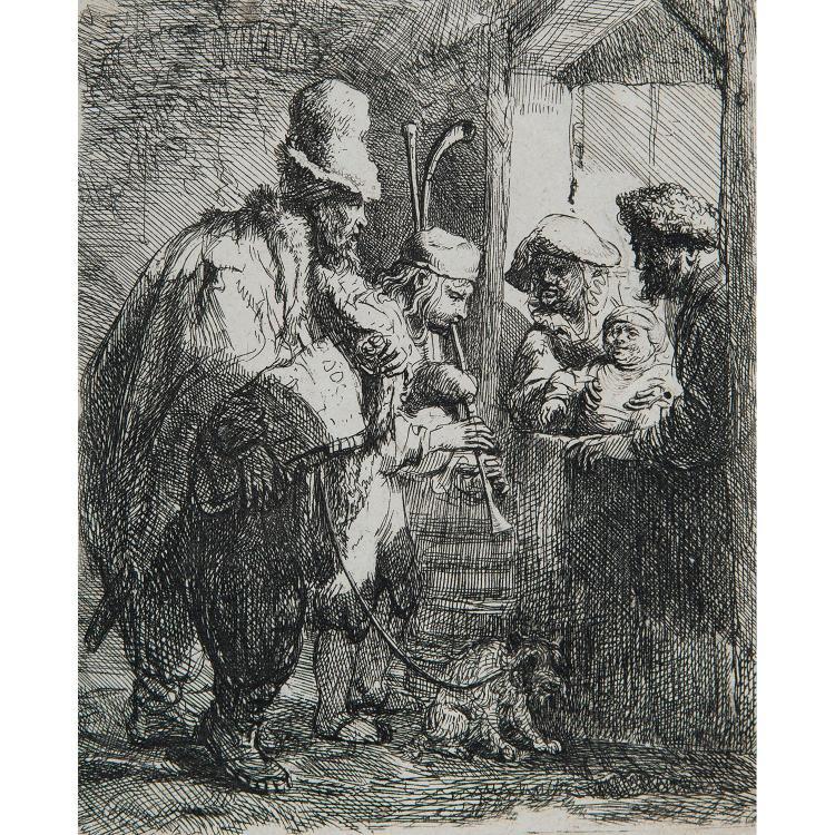 REMBRANDT VAN RIJN (1606-1669) LES MUSICIENS AMBULANTS