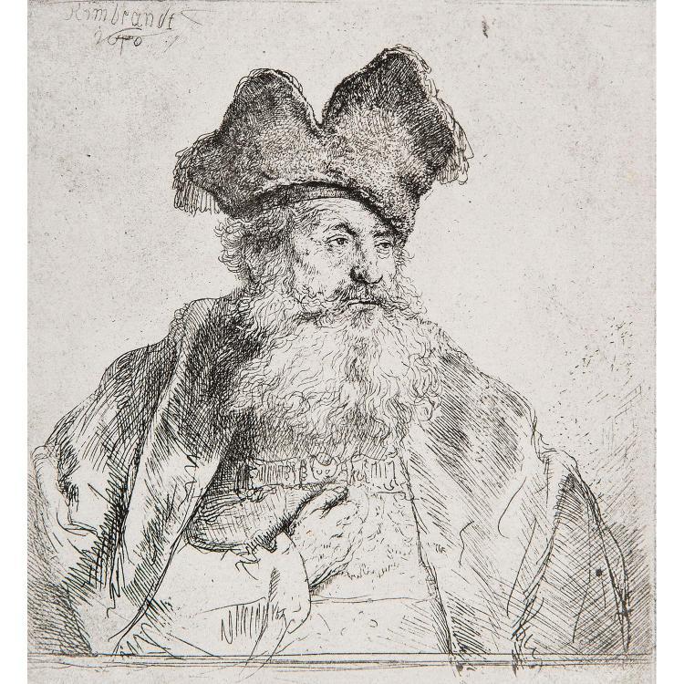 HARMENSZ REMBRANDT VAN RIJN (1606-1669) VIEILLARD AU CHAPEAU DE FOURRURE ET BARBE