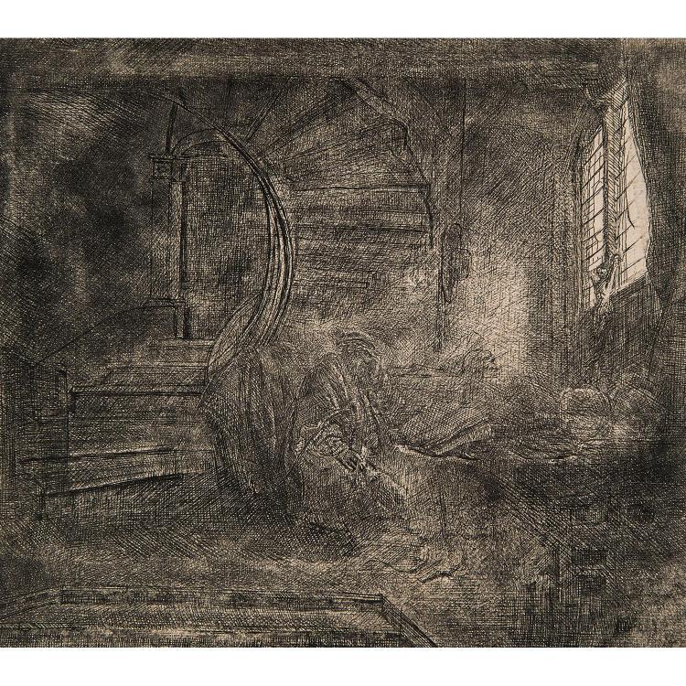 REMBRANDT VAN RIJN (1606-1669) SAINT JÉRÔME DANS UNE CHAMBRE SOMBRE
