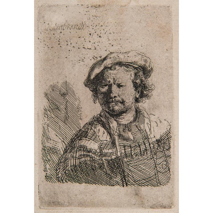REMBRANDT VAN RIJN (1606-1669) RECUEIL comprenant: AUTOPORTRAIT EN MANTEAU ET BÉRÊT – TROIS TÊTES DE FEMMES L'UNE ENDORMIE