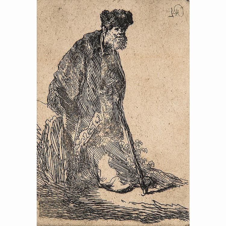 REMBRANDT VAN RIJN (1606-1669) VIEILLARD AU CHAPEAU DE FOURRURE ET CANNE