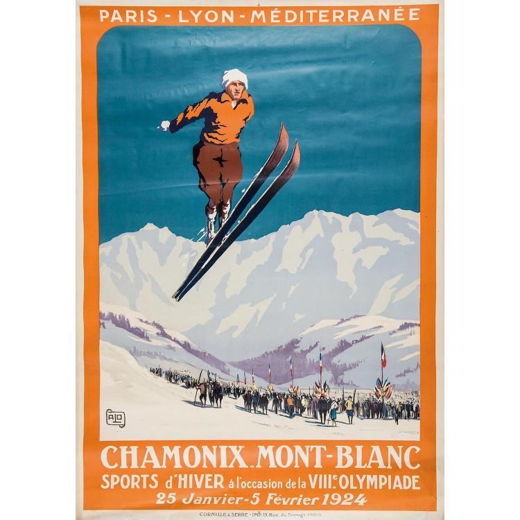 AFFICHE CHAMONIX MONT BLANC, P.L.M. Sports d'hivers à l'occasion de la VIIIe Olympiade. Charles Hallo. Imp. Cornillle et Serre. Pliu...