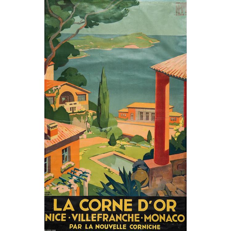 AFFICHE LA CORNE D'OR, NICE VILLEFRANCHE MONACO par la nouvelle Corniche. R.Broders. Imprimeur Serre. Fortes pliures et cassures, ac...