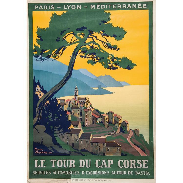 LOT DE TROIS AFFICHES PARIS LYON MARSEILLE LE TOUR DU CAP CORSE, Roger Broders. Imp. Cornille et Serre. Accidents dans les bords et ...