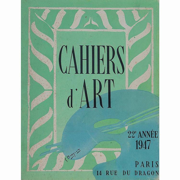 REVUES CAHIERS D'ART CAHIERS D'ART 1940-44 quinzième-dix-neuvième année, 230 pages brochées sous couverture papier grenat, avec deux...