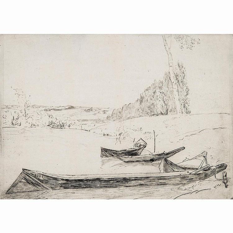 FÉLIX BRACQUEMOND (1833-1914) BACHOTS AU BORD DE LA SEINE-LA SEINE AU BAS MEUDON