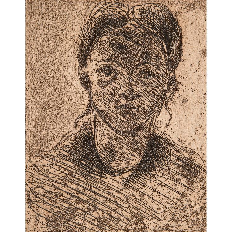 PAUL CÉZANNE (1839-1906) TÊTE DE JEUNE FILLE