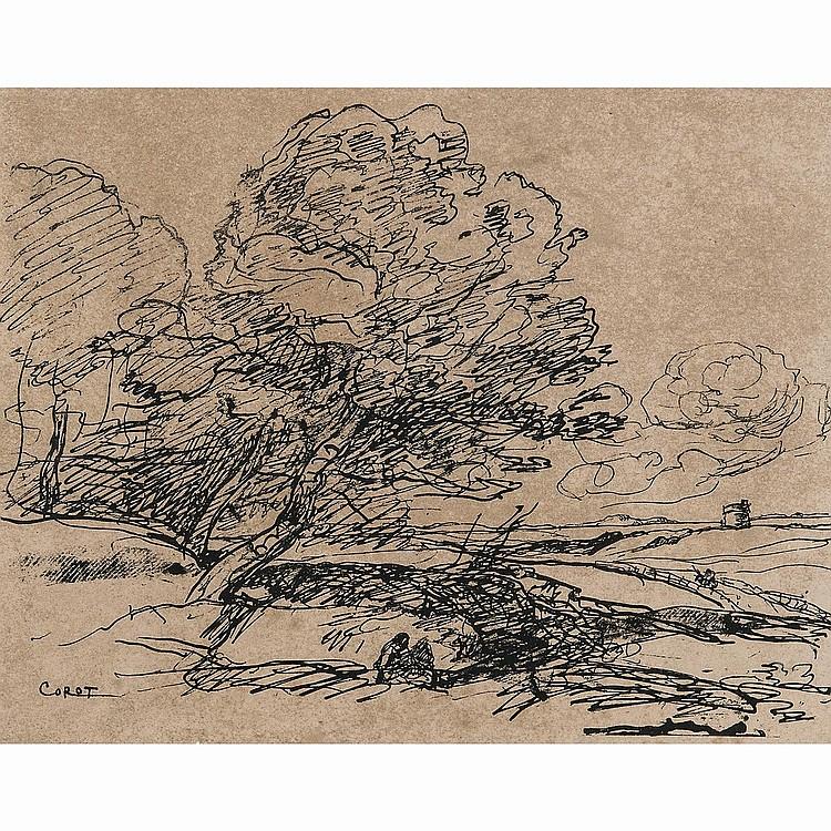 CAMILLE COROT (1796-1875) LA TOUR ISOLÉE