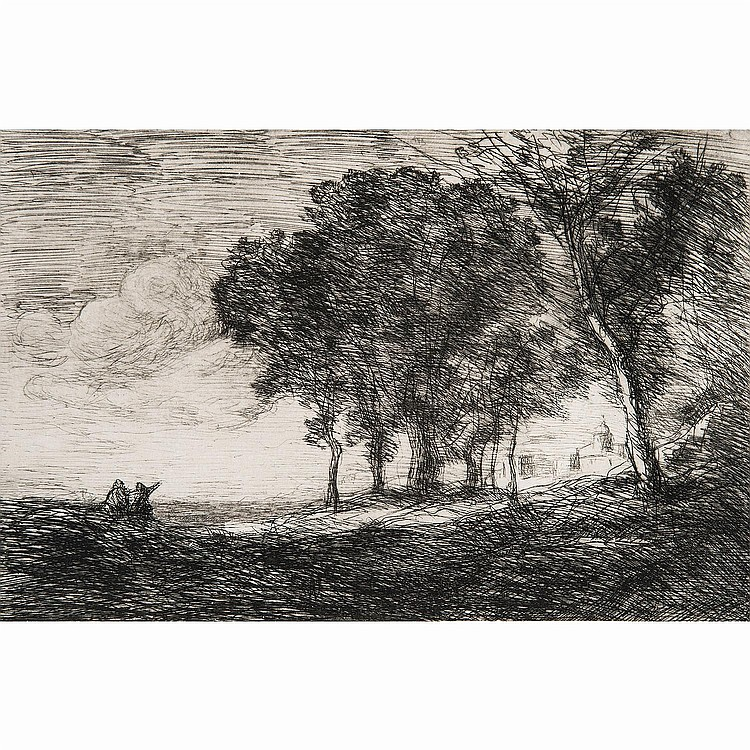 CAMILLE COROT (1796-1875) PAYSAGE D'ITALIE