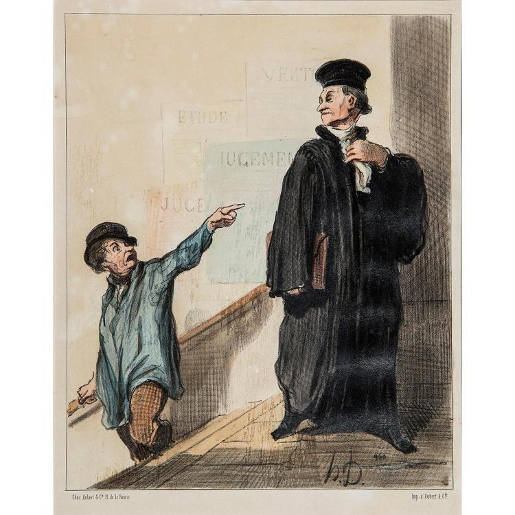 HONORÉ DAUMIER (1808-1879) UN PLAIDEUR PEU SATISFAIT, planche26 de la série les Gens de Justice.
