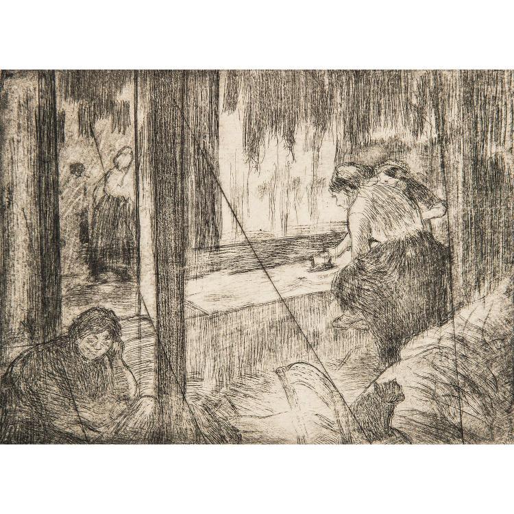 EDGAR DEGAS (1834-1917) LOGES D'ACTRICES-LES BLANCHISSEUSES