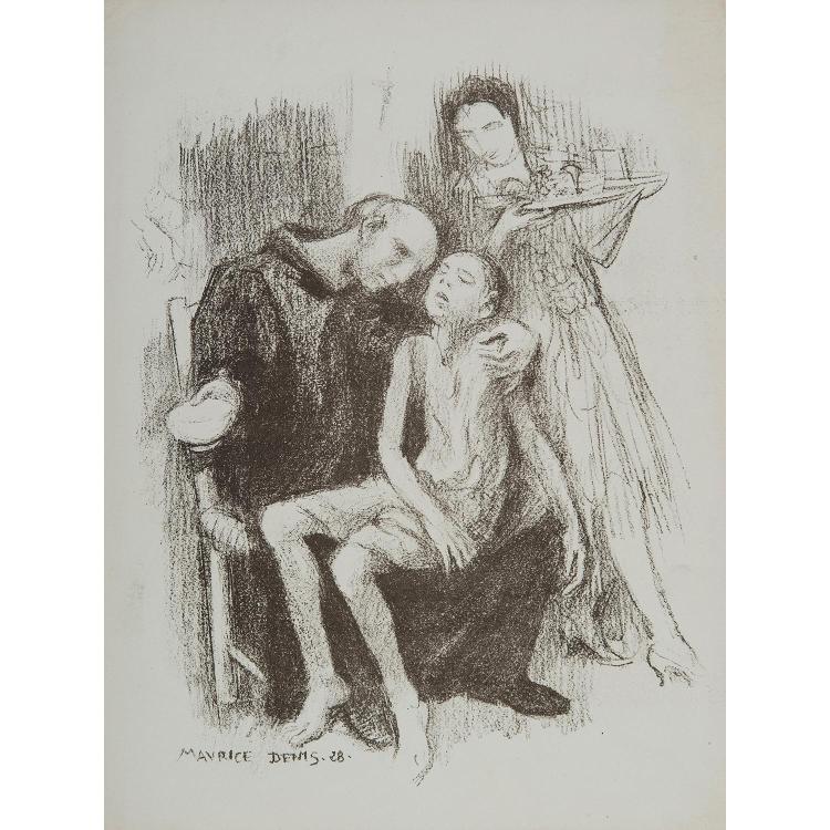 MAURICE DENIS (1870-1943) FRÈRE DE SAINT-JEAN DE DIEU, 1928 Lithographie sur vélin. Belle et rare épreuve, très légères trac...
