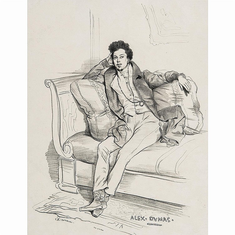 EUGÈNE DEVERIA (1808-1865) PORTRAIT D'ALEXANDRE DUMAS