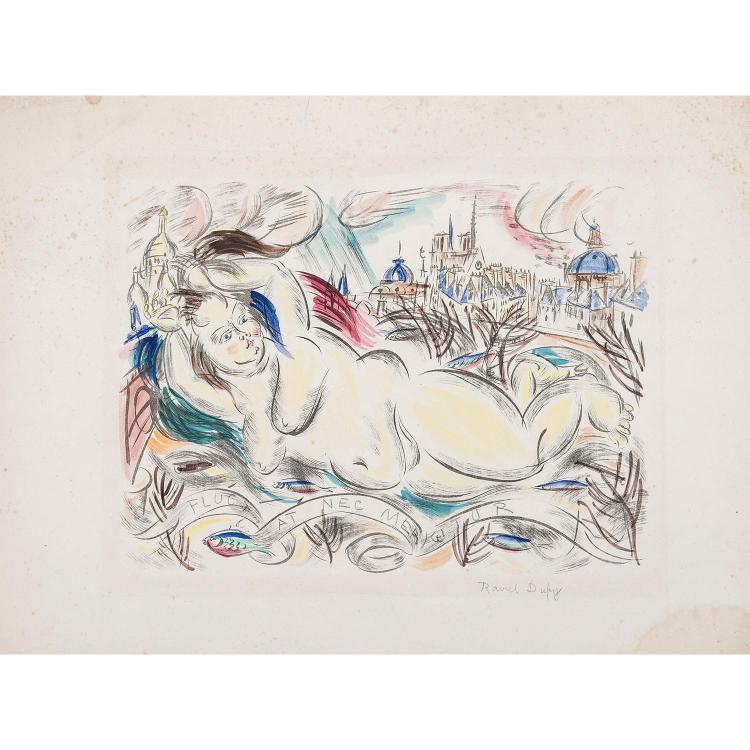 RAOUL DUFY (1877-1953)   FLUCTUAT NEC MERGITUR (sirène devant Paris)   Lithographie en noir avec impression en couleurs. Épreuve...