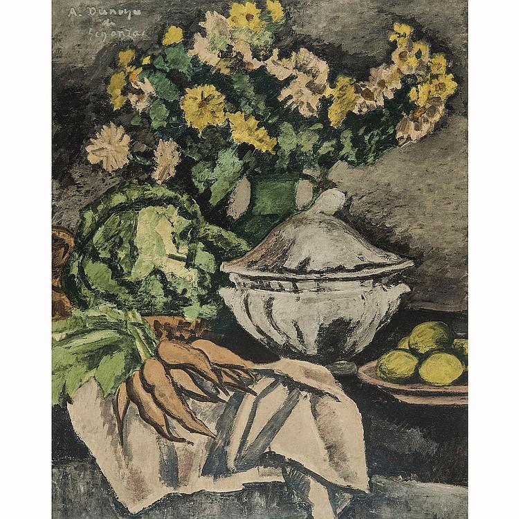 ANDRÉ DUNOYER DE SEGONZAC, D'APRÈS (1884-1974) NATURE MORTE, FRUITS, FLEURS, LÉGUMES