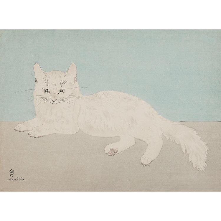 LÉONARD TSUGUHARU FOUJITA (1886-1968) CHAT BLANC ASSIS, 1929