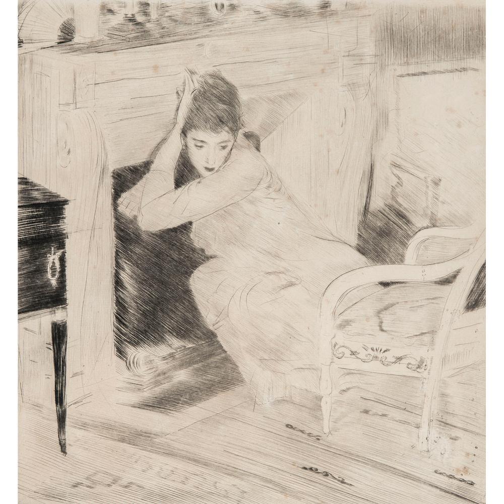 PAUL CÉSAR HELLEU (1859-1927) FEMME ASSISE DEVANT LA CHEMINÉE