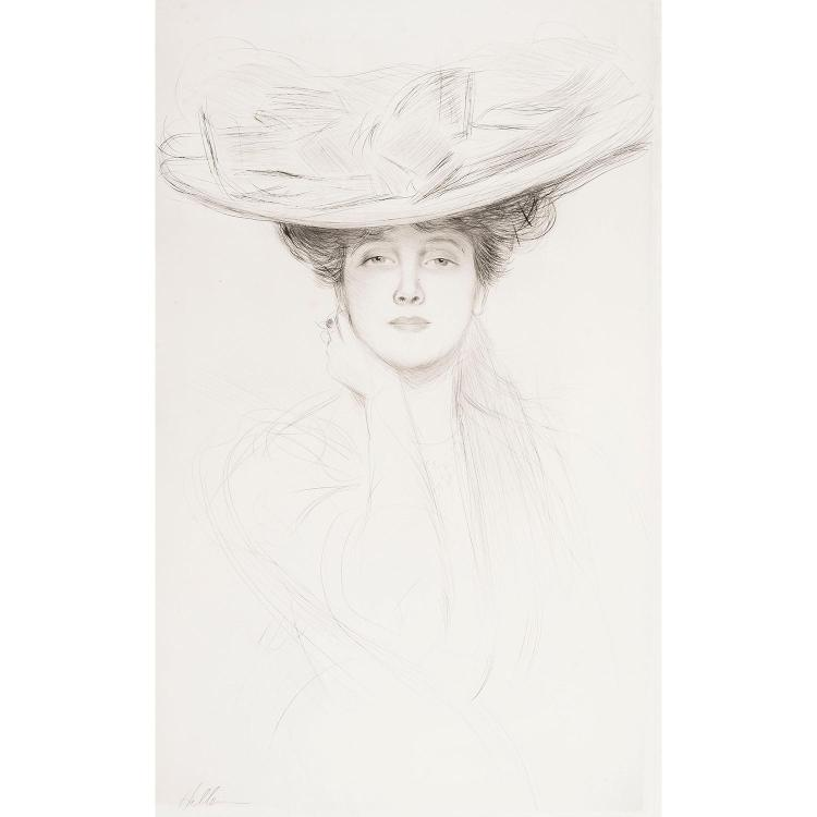 PAUL CÉSAR HELLEU (1859-1927) LE NŒUD BLEU, vers 1905