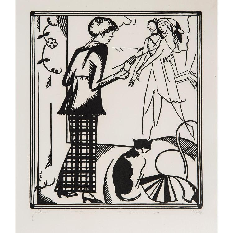 JEAN-ÉMILE LABOUREUR (1877-1943) PORTRAIT DE MARIE LAURENCIN, 1914