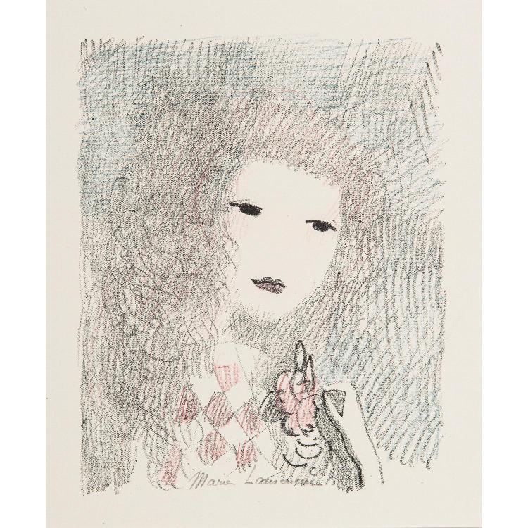 MARIE LAURENCIN (1883-1944) TÊTE DE FEMME À LA FLEUR