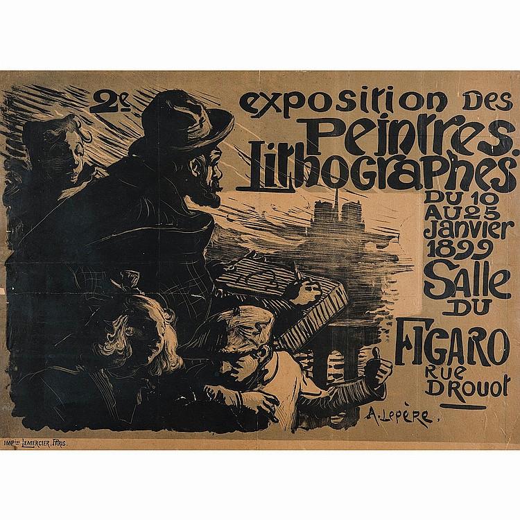 AUGUSTE LEPÈRE (1849-1918) AFFICHE POUR LA 2E EXPOSITION DES PEINTRES LITHOGRAPHES du 10 au 25janvier1899, salle du Figaro rue Drouo...