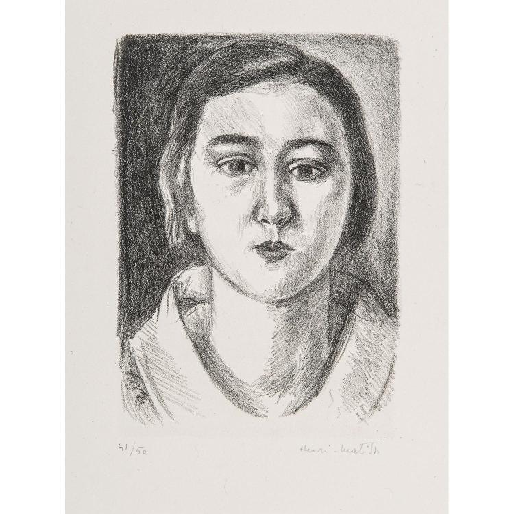 HENRI MATISSE (1869-1954) JEUNE FILLE AU COL D'ORGANDI, 1923