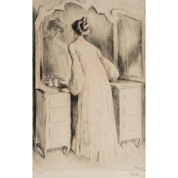 ALFREDO MÜLLER (1869-1939) COQUETTE DEVANT SA GLACE