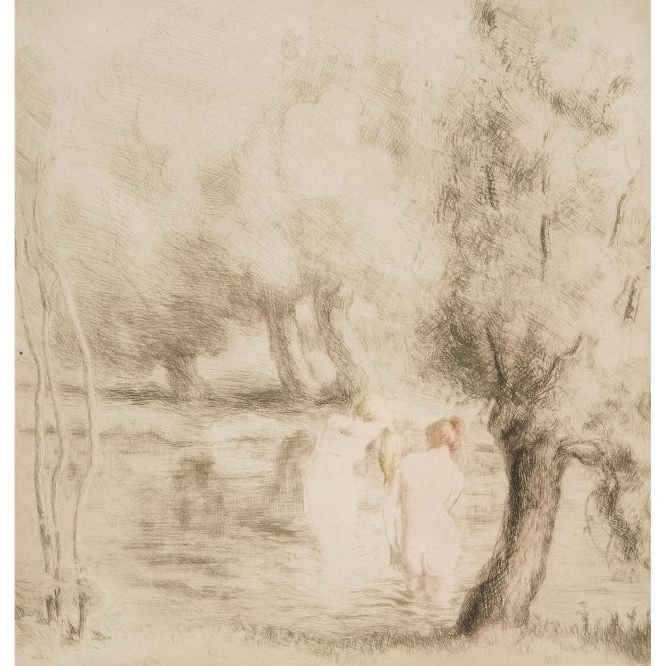 ALFREDO MÜLLER (1869-1939) BAIGNEUSES SOUS LES SAULES