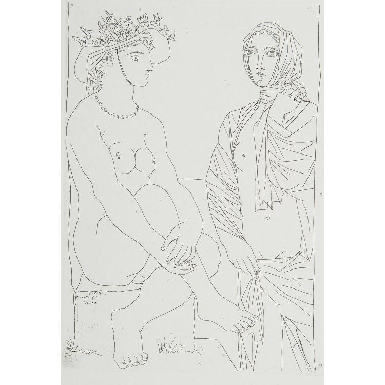PABLO PICASSO (1881-1973) FEMME ASSISE AU CHAPEAU ET FEMME DEBOUT, planche 79 de la suite Vollard.