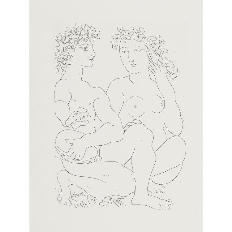 PABLO PICASSO (1881-1973) JEUNE COUPLE ACCROUPI, L'HOMME AVEC UN TAMBOURIN, planche19 de la suite Vollard.